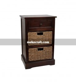 Wooden cabinet with 2 seagrass drawers